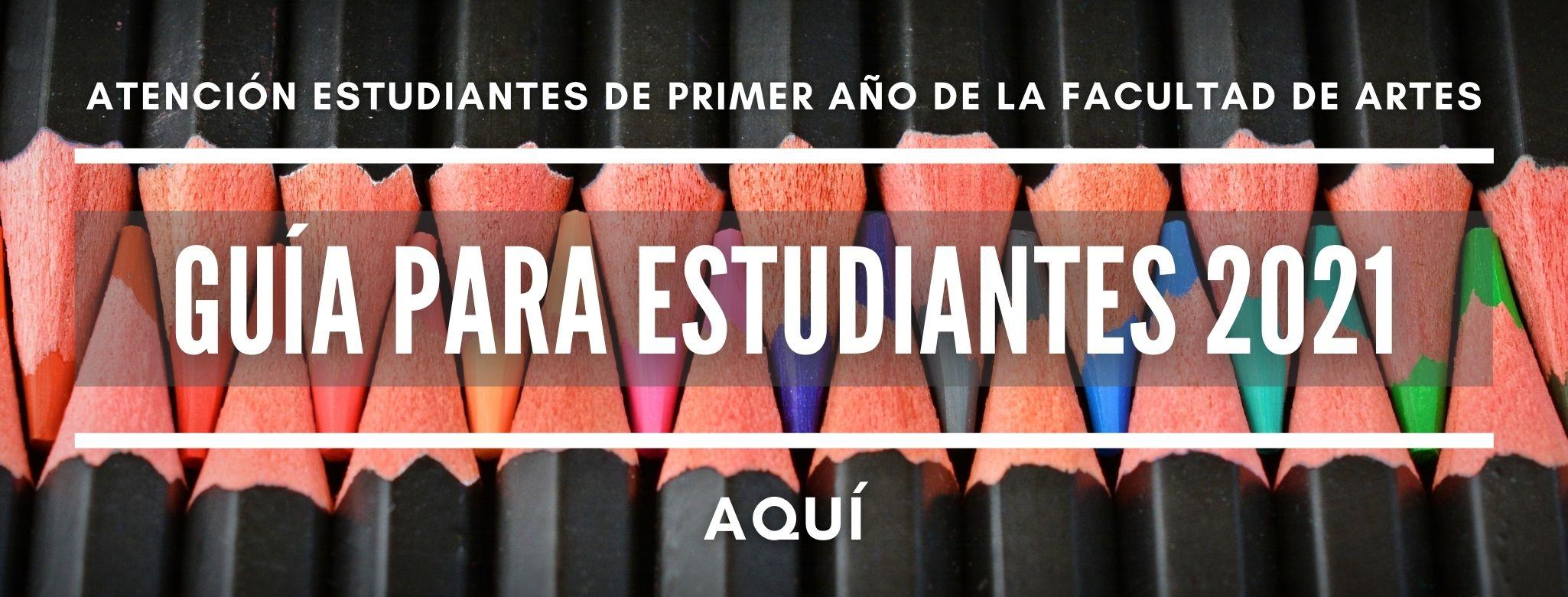 Banner con lapices de colores, ingreso a la guía para estudiantes 2021